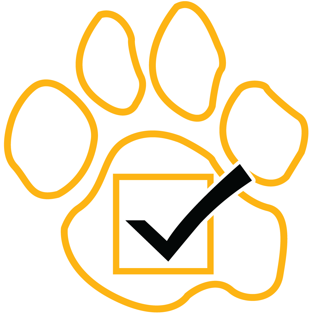 Abstract illustration of a black check mark in a black box, which is in the center of a gold outline of UMBC's Official Paw Print.