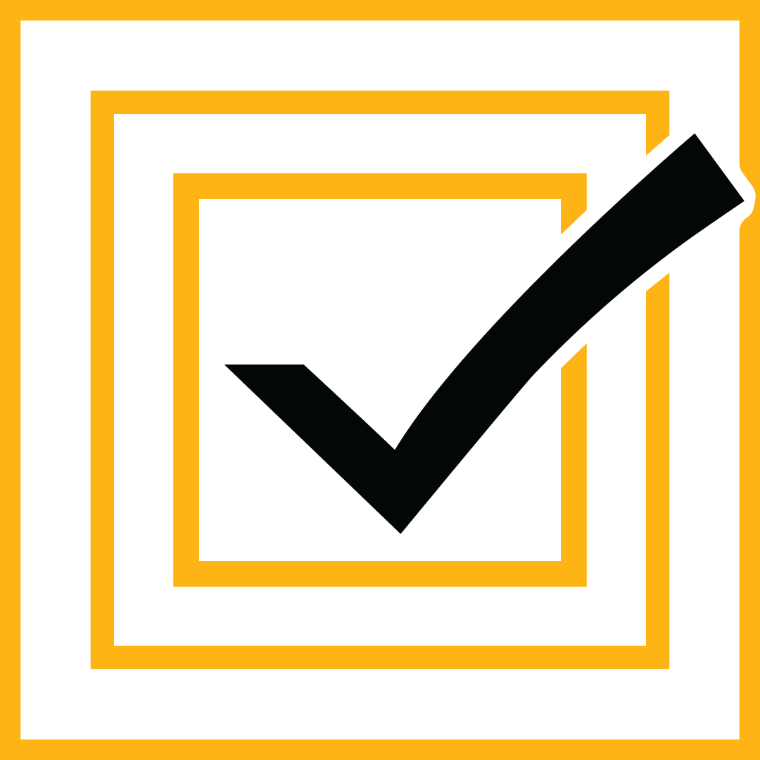 Abstract illustration of a black check mark in a gold box inside of two larger gold boxes.