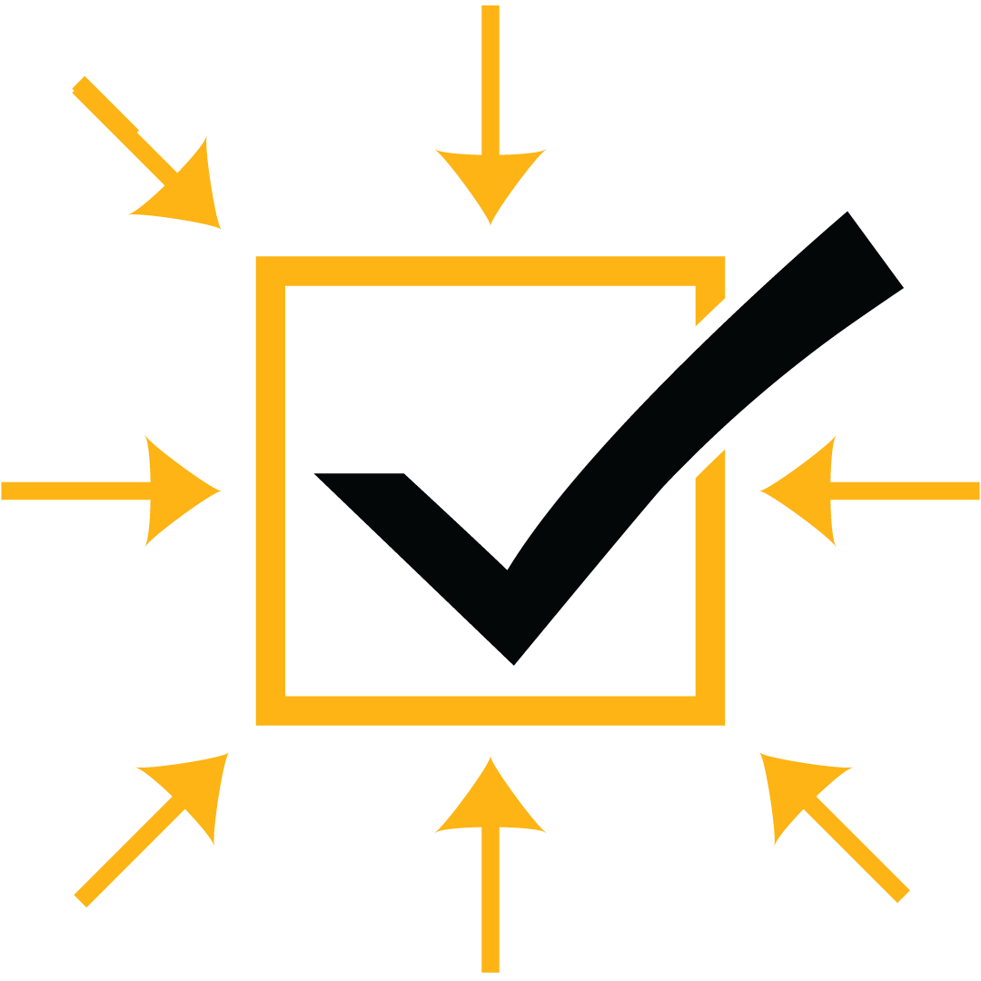 Abstract illustration of a black check mark in a gold box surrounded by gold arrows.